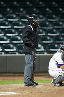 Home plate umpire Raul Moreno works the Carolina League game between the Wilmington Blue Rocks and the Winston-Salem Dash at BB&T Ballpark on April 15, 2019 in Winston-Salem, North Carolina. The Dash defeated the Blue Rocks 9-8. (Brian Westerholt/Four Seam Images)