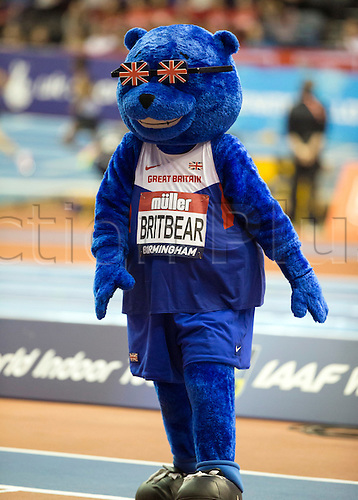 February 18th 2017,  Birmingham, Midlands, England; IAAF The Müller Indoor Grand Prix Athletics meeting; UK Athletics mascot BritBear on track side during the 5,000 metre race