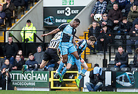 Anthony Stewart of Wycombe Wanderers clears the ball during the Sky Bet League 2 match between Notts County and Wycombe Wanderers at Meadow Lane, Nottingham, England on 28 March 2016. Photo by Andy Rowland.