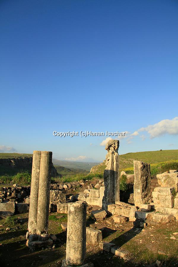 Israel, Lower Galilee, ruins of Arbel ancient Synagogue
