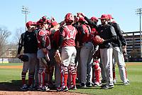 GREENSBORO, NC - FEBRUARY 22: Fairfield University baseball players huddle during a game between Fairfield and UNC Greensboro at UNCG Baseball Stadium on February 22, 2020 in Greensboro, North Carolina.