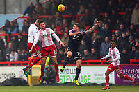 A clash of heads between Jack King and Jonathan Smith of Stevenage during Stevenage vs Luton Town, Sky Bet EFL League 2 Football at the Lamex Stadium on 10th February 2018