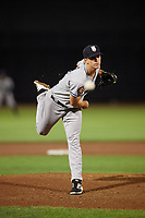 Staten Island Yankees relief pitcher Aaron McGarity (14) delivers a pitch during a game against the Aberdeen IronBirds on August 23, 2018 at Leidos Field at Ripken Stadium in Aberdeen, Maryland.  Aberdeen defeated Staten Island 6-2.  (Mike Janes/Four Seam Images)