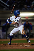 Rancho Cucamonga Quakes third baseman Rylan Bannon (25) at bat during a California League game against the Lake Elsinore Storm at LoanMart Field on May 19, 2018 in Rancho Cucamonga, California. Lake Elsinore defeated Rancho Cucamonga 10-7. (Zachary Lucy/Four Seam Images)