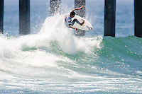 Brazilian Heitor Alves turns off the top during round of 96 of the 2010 US Open of Surfing in Huntington Beach, California on August 4, 2010.