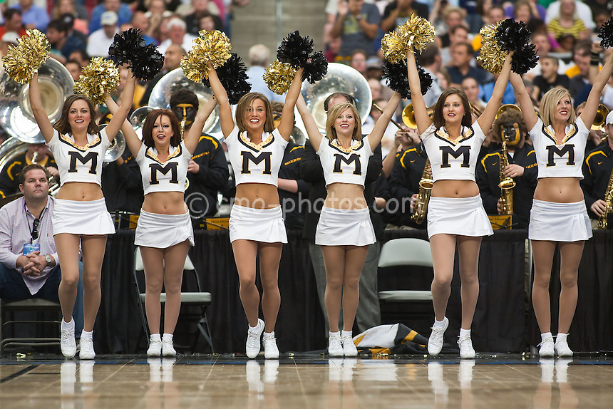 Mar 28, 2009; Glendale, AZ, USA; The Missouri Tigers Cheerleaders perform in the second half of a game against the Connecticut Huskies in the finals of the west region of the 2009 NCAA basketball tournament at University of Phoenix Stadium.  The Huskies defeated the Tigers 82-75 to advance to the Final Four.