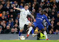Denys Garmash of Dynamo Kiev and Chelsea's N'Golo Kante challenge for the ball during Chelsea vs Dynamo Kiev, UEFA Europa League Football at Stamford Bridge on 7th March 2019