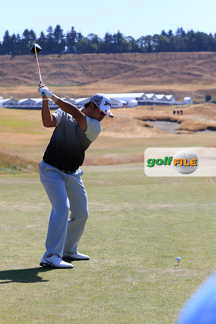 Hideki Matsuyana (JPN) tees off the 18th tee during Wednesday's Practice Day of the 2015 U.S. Open 115th National Championship held at Chambers Bay, Seattle, Washington, USA. 6/17/2015.<br /> Picture &copy; Golffile/Eoin Clarke