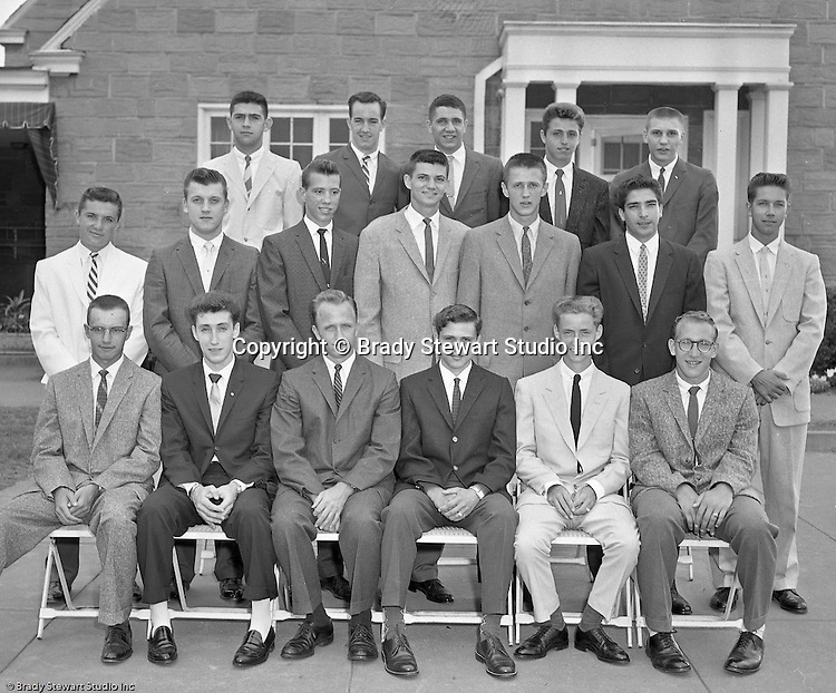 Pittsburgh PA:  View of the Caddies receiving college scholarships from the Western Pennsylvania Golf Association's Caddie Welfare Foundation for year 1959.  The Foundation was managed by Fidelity Trust Company and scholarships are agreed upon by the WPGA executive committee. This dinner was held at the Edgewood Country Club in Pittsburgh and the assignment was for Charles K. Robinson. The mission of the WPGA are to sanction championships, establish handicapping and rate area golf courses.