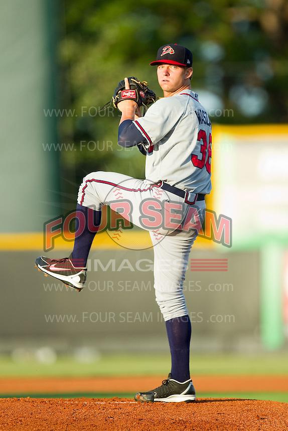 Danville Braves starting pitcher Andrew Waszak (36) in action against the Burlington Royals at Burlington Athletic Park on August 16, 2013 in Burlington, North Carolina.  The Royals defeated the Braves 1-0.  (Brian Westerholt/Four Seam Images)