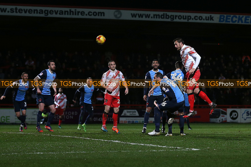Luke Wilkinson of Stevenage scores the third goal for his team during Stevenage vs Leyton Orient, Sky Bet EFL League 2 Football at the Lamex Stadium on 28th February 2017