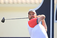 Shane Lowry (IRL) on the 12th tee during the preview for the DP World Tour Championship at the Earth course,  Jumeirah Golf Estates in Dubai, UAE,  18/11/2015.<br /> Picture: Golffile | Thos Caffrey<br /> <br /> All photo usage must carry mandatory copyright credit (© Golffile | Thos Caffrey)