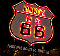 Large Neon Route 66 shield at the National Route 66 Museum Elk City Oklahoma.