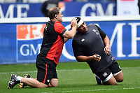 England Rugby assistant coach Neal Hatley with Mako Vunipola during the pre-match warm-up. Natwest 6 Nations match between France and England on March 10, 2018 at the Stade de France in Paris, France. Photo by: Patrick Khachfe / Onside Images