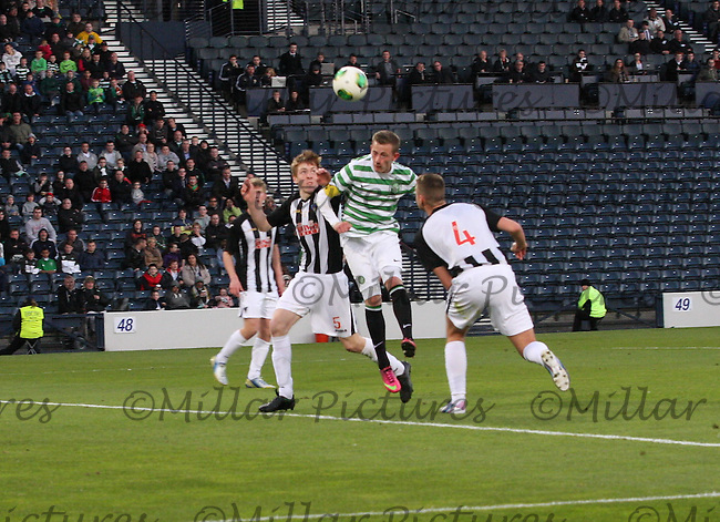 John Herron heading in the Dunfermline Athletic v Celtic Scottish Football Association Youth Cup Final match played at Hampden Park, Glasgow on 1.5.13. .
