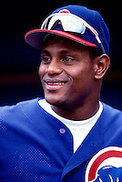 Sammy Sosa of the Chicago Cubs participates in a baseball game at Qualcomm Stadium during the1998 season in San Diego, California. (Larry Goren/Four Seam Images)