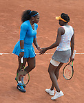 May 25, 2016:  The Williams sisters, Serena and Venus (Serena in blue dress) (USA) defeated Jelena Ostapenko (LAT) & Yulia Putintseva (KAZ) 6-2 in each set, at the Roland Garros being played at Stade Roland Garros in Paris, .  ©Leslie Billman/Tennisclix/CSM