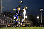 26 September 2014: Duke's Cody Brinkman (25) and Markus Fiortoft (NOR) (21) challenge for a header against Boston College's Phil Sandgren (SWE) (8). The Duke University Blue Devils hosted the Boston College Eagles at Koskinen Stadium in Durham, North Carolina in a 2014 NCAA Division I Men's Soccer match. Duke won the game 1-0.