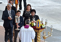The relics of Louis and Zelie Martin, parents of St. Therese of Lisieux, are displayed during a Holy Mass for the canonization of four new saints in St. Peter's Square in Vatican. -- Pope Francis celebrates a Holy Mass for the canonization of four new saints: Vincenzo Grossi, Mary of the Immaculate Conception, Louis Martin and his wife Zélie Guérin, the first-ever married couple with children to be canonized in the same ceremony..Vatican City, Vatican. 18th October 2015