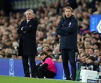 11th January 2020; Goodison Park, Liverpool, Merseyside, England; English Premier League Football, Everton versus Brighton and Hove Albion; Everton manager Carlo Ancelotti  and Brighton and Hove Albion manager Graham Potter follow the action from the touchline - Strictly Editorial Use Only. No use with unauthorized audio, video, data, fixture lists, club/league logos or 'live' services. Online in-match use limited to 120 images, no video emulation. No use in betting, games or single club/league/player publications