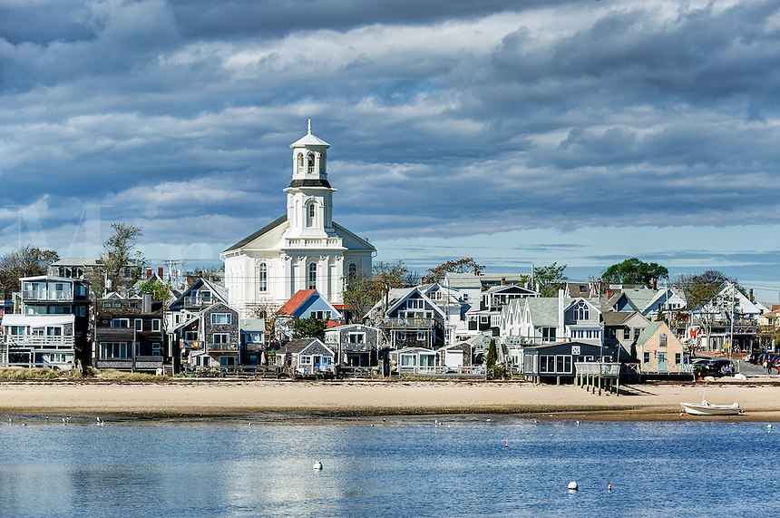 View of harbor and beach with town in the background. Provincetown, Cape Cod, Massachusetts, USA