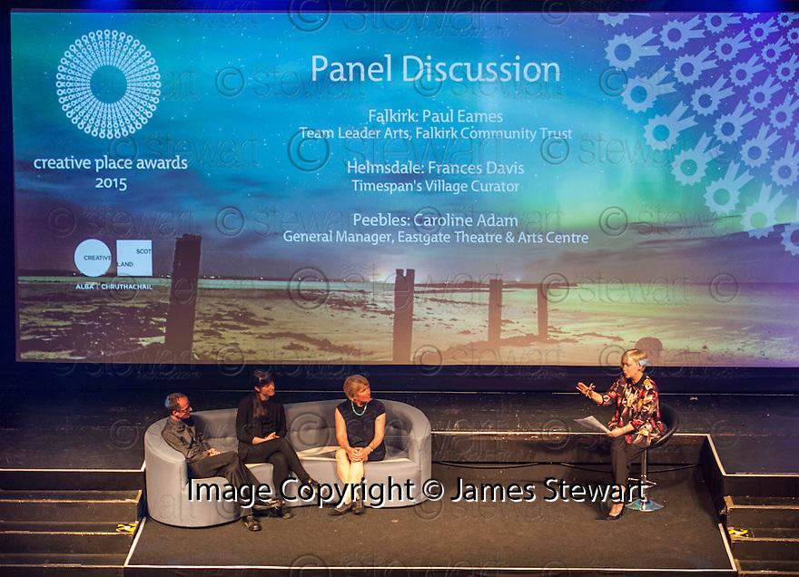 2014 Winners Panel Discussion : Falkirk - Paul Eames Falkirk Community Trust : Peebles  - Caroline Adam, Eastgate Theatre & Arts Centre : Helmsdale – Frances Davis, Timespan's Village Curator.