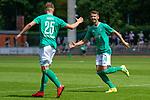 27.07.2019, Platz 11, Bremen, GER, RLN, Werder Bremen II vs Lueneburger SC, im Bild<br /> <br /> v.li.:  Luc Ihorst (SV Werder Bremen II, 25) und Marin Pudic (SV Werder Bremen II, 14) mit Torjubel, Jubel, Freude über das Tor zum 1:0<br /> <br /> <br /> Foto © nordphoto / Baumgart
