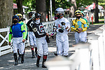 July 25, 2020: Jockeys approach paddock before race 5 on Alfred G Vanderbilt  Day at Saratoga Race Course in Saratoga Springs, New York. Rob Simmons/Eclipse Sportswire/CSM