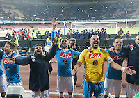 Napoli's Players celebrates at  end of the  italian serie a soccer match,between SSC Napoli and Sassuolo    at  the San  Paolo   stadium in Naples  Italy ,Napoli  wins  3-1