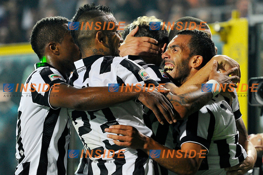 Esultanza gol di Carlos Tevez Juventus 0-1. Celebration goal<br /> Bergamo 27-09-2014 Stadio Atleti Azzurri d'Italia - Football Calcio Serie A Atalanta - Juventus. Foto Giuseppe Celeste / Insidefoto