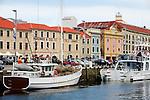 Fishing boats at Victoria Dock, alongside historic Hunter Street.  Sullivans Cove, Hobart, Tasmania, AUSTRALIA