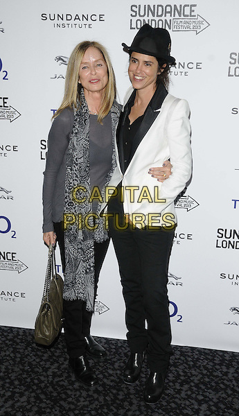 "Barbara Bach, Francesca Gregorini (Director) .attended the ""Emanuel & The Truth About Fishes"" UK film premiere, the Sundance London 2013 film & music festival day 2, Cineworld cinemas, The O2, Peninsula Square, London, England, UK, .26th April 2013..full length black hat shirt white cream blazer jacket tuxedo tux grey gray top scarf bag arm around .CAP/CAN.©Can Nguyen/Capital Pictures."