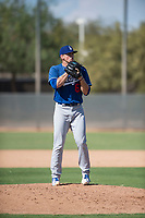 Los Angeles Dodgers relief pitcher Stephen Kolek (67) looks in for the sign during an Instructional League game against the Milwaukee Brewers at Maryvale Baseball Park on September 24, 2018 in Phoenix, Arizona. (Zachary Lucy/Four Seam Images)