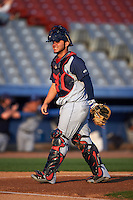 Brooklyn Cyclones catcher Jose Garcia (4) during the first game of a doubleheader against the Connecticut Tigers on September 2, 2015 at Senator Thomas J. Dodd Memorial Stadium in Norwich, Connecticut.  Brooklyn defeated Connecticut 7-1.  (Mike Janes/Four Seam Images)