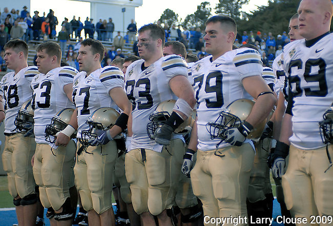November 7, 2009:  West Point players during their alma mater following the annual battle between the Army Black Knights and the Air Force Falcons at Falcon Stadium, U.S. Air Force Academy, Colorado Springs, CO.  Air Force defeats Army 35-7.