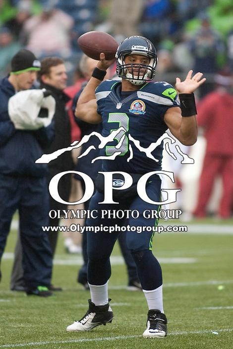 DEC 09, 2012:  Seattle's Russell Wilson against Arizona.  Seattle defeated Arizona 58-0 at CenturyLink Field in Seattle, WA...