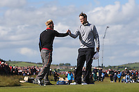 Sunday 31st May 2015; S&oslash;ren Kjeldsen, Denmark, is congratulated by Bernd Wiseberger, Austria<br /> <br /> Dubai Duty Free Irish Open Golf Championship 2015, Round 4 County Down Golf Club, Co. Down. Picture credit: John Dickson / DICKSONDIGITAL