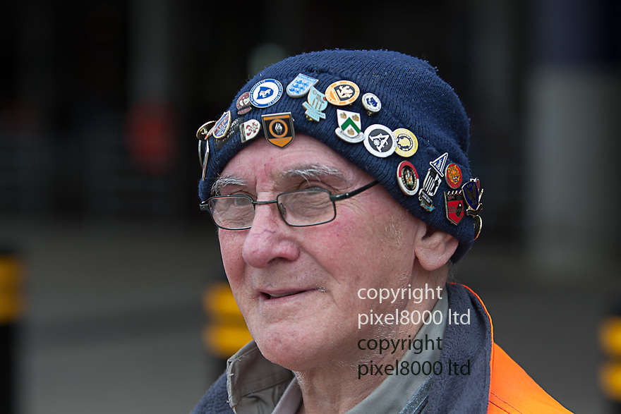 London, UK. 73 year old football fanatic Joe walked to Wembley without a ticket from his home in Infurness - nPower Championship playoff final fixture Blackpool versus West Ham United at Wembley Stadium 19 May.  Please Byline David Fearn Pixel 8000 Ltd