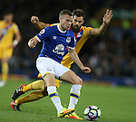 Tom Cleverley of Everton tussles with Joe Ledley of Crystal Palace during the Premier League match at Goodison Park Stadium, Liverpool. Picture date: September 30th, 2016. Pic Simon Bellis/Sportimage