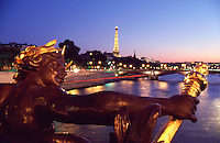 France Paris The Alexander III bridge at dusk