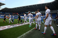 Swansea players exit the tunnel during the FAW Youth Cup match between Swansea City and Cambrian and Clydach at The Cardiff City Stadium, Cardiff, Wales, UK. Sunday 23 April 2017