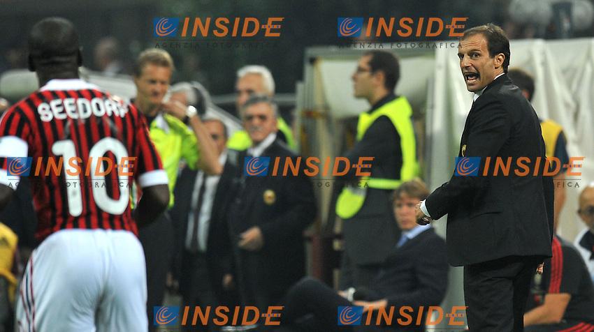"""Massimiliano Allegri strizza l'occhio a Clarence Seedorf.Milano 24/9/2011 Stadio """"Giuseppe Meazza"""".Serie A 2011/2012.Football Calcio Milan Vs Cesena.Foto Insidefoto Alessandro Sabattini."""