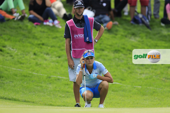 Lexi Thompson (USA) lines up her putt on the 14th green during Sunday's Final Round of the LPGA 2015 Evian Championship, held at the Evian Resort Golf Club, Evian les Bains, France. 13th September 2015.<br /> Picture Eoin Clarke | Golffile