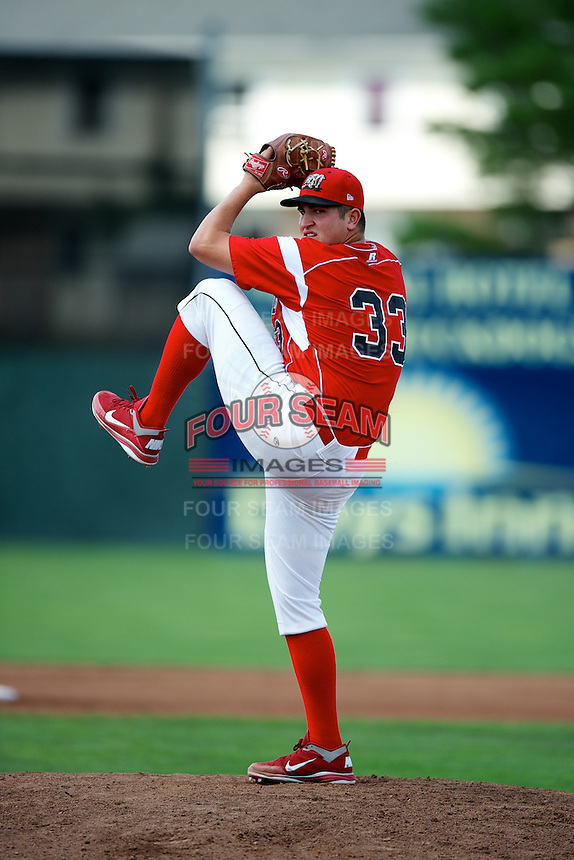 Batavia Muckdogs pitcher Joe Scanio #33 during a game against the Staten Island Yankees at Dwyer Stadium on July 29, 2012 in Batavia, New York.  Batavia defeated Staten Island 10-2.  (Mike Janes/Four Seam Images)