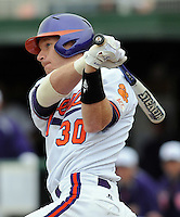 Clemson's Doug Hogan hits in a game between the Mercer Bears and Clemson Tigers at Doug Kingsmore Stadium on Feb. 24, 2008, in Clemson, S.C. Clemson won 10-3. Photo by:  Tom Priddy/Four Seam Images