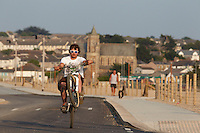 Clinton Johns riding DMR jump bike, Hayle , Cornwall . July 2013 , pic copyright Steve Behr / stockfile