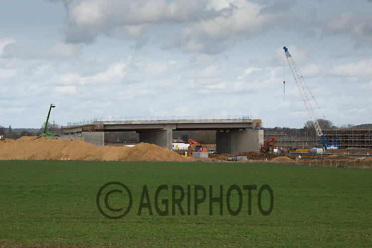 Road construction through farmland Cambridgeshire <br /> &copy;Tim Scrivener Photographer 07850 303986<br /> ....Covering Agriculture In The UK....