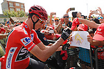 Race leader Chris Froome (GBR) Team Sky with fans sign on before the start of Stage 8 of the 2017 La Vuelta, running 199.5km from Hell&iacute;n to Xorret de Cat&iacute;. Costa Blanca Interior, Spain. 26th August 2017.<br /> Picture: Unipublic/&copy;photogomezsport | Cyclefile<br /> <br /> <br /> All photos usage must carry mandatory copyright credit (&copy; Cyclefile | Unipublic/&copy;photogomezsport)
