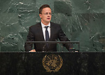 72 General Debate &ndash; 22 September <br /> <br /> <br /> <br /> Hungarian Minister for Foreign Affairs, P&eacute;ter Szijj&aacute;rt&oacute;
