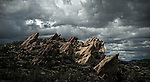 Vasquez Rocks National Park is a 932 acres of spectacular rock formations located in Agua Dulce California. Taken on a when the clouds were very dramatic  on February 28, 2015. ©Fitzroy Barrett